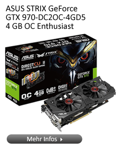 ASUS STRIX GeForce GTX 970-DC2O-4GD5 Enthusiast Grafikkarte