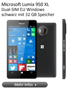 Microsoft Lumia 950 XL Dual-SIM EU Windows Barren Handy in schwarz mit 32 GB Speicher